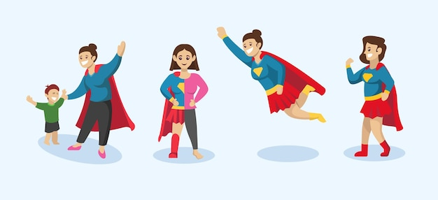Zestaw super mamy, ilustracja projektu matki z pozą superbohatera