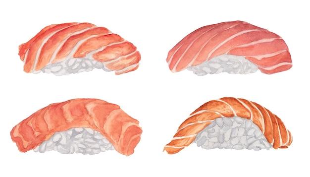 Zestaw sushi akwarelowy z łososiem