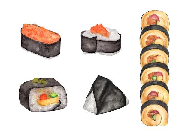 Zestaw sushi. japońskie potrawy. akwarela ilustracja.