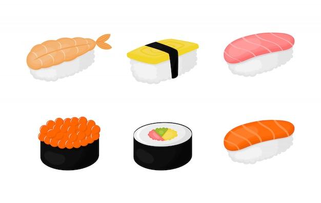 Zestaw sushi na białym tle do kawiarni lub restauracji.