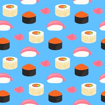 Zestaw sushi. roladki z kawiorem z czerwonej ryby, nigiri z krewetką. tradycyjne japońskie jedzenie. wzór.
