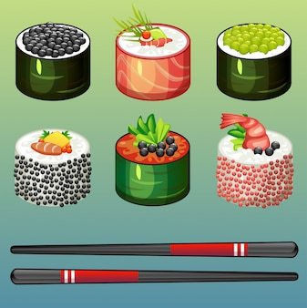 Zestaw sushi stylu cartoon