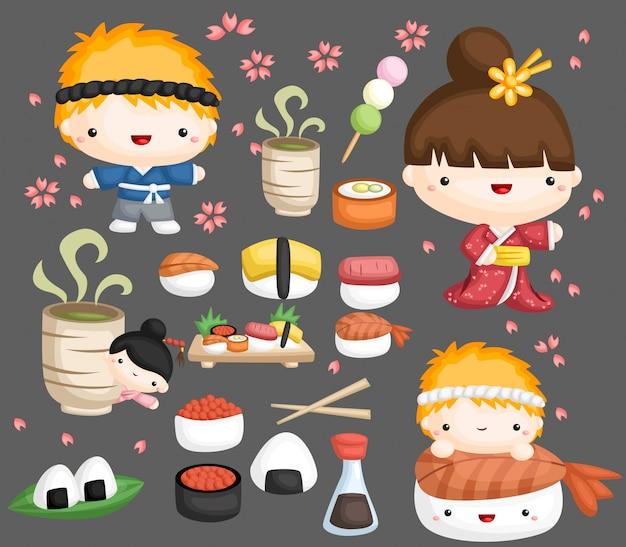 Zestaw sushi wektor