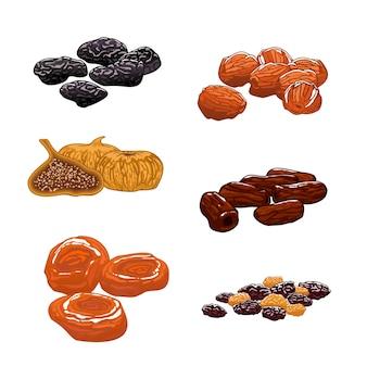 Zestaw suszonych owoców. daktyle, figi, morele, śliwki, suszone śliwki. przekąski słodkie i deserowe