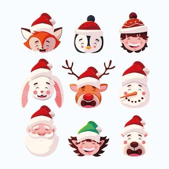 Zestaw świąt bożego narodzenia z głową świętego mikołaja i zwierząt