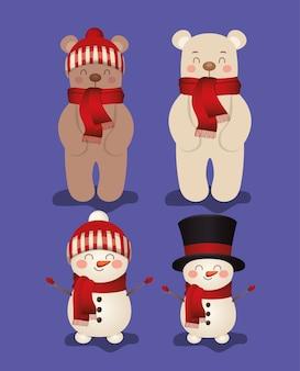 Zestaw świąt w fioletowym tle ilustracji