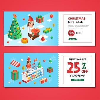 Zestaw świątecznej sprzedaży kuponów do sklepu i sklepu, sprzedaż świątecznych prezentów i kuponów rabatowych