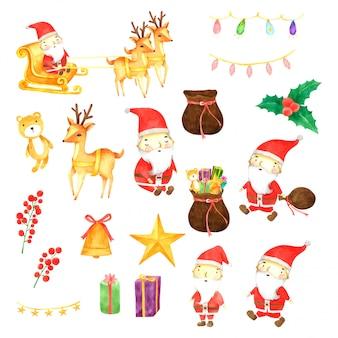 Zestaw świąteczny akwarela ręcznie rysowane malowane