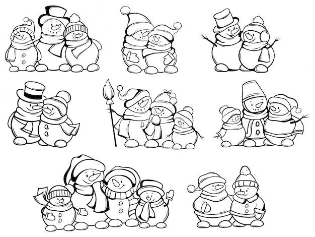 Zestaw świąteczny bałwana. kolekcja uroczych firmowych snowmanów w czapkach i szalikach.