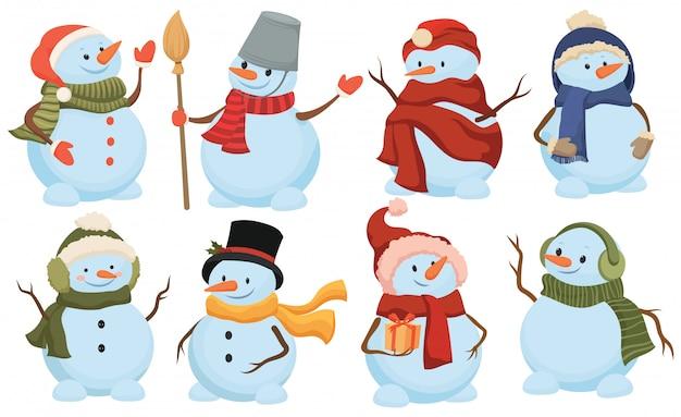 Zestaw świąteczny bałwana. kolekcja uroczych snowmanów w czapkach i szalikach.