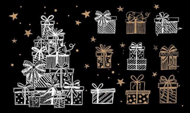 Zestaw świąteczny doodle ikony pudełka na prezenty ręcznie rysowane elementy