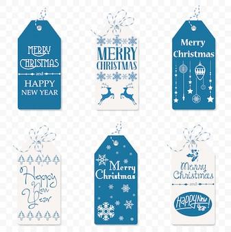 Zestaw świąteczny etykiety. świąteczny tag. nowy rok symbol znak na białym tle na biblground transperantowym.