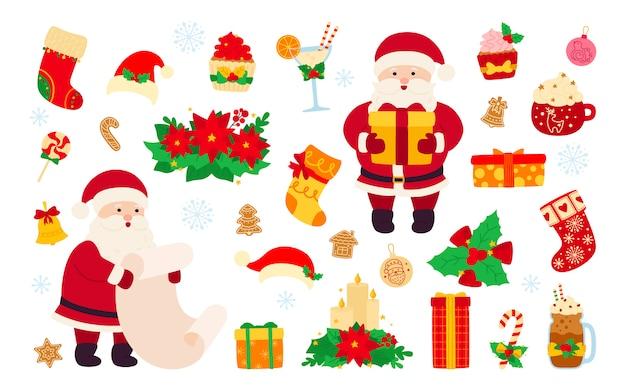 Zestaw świąteczny i noworoczny. holly, babeczka, dzwonek, czapka, mikołaj i ciasteczka, świeca lizakowa, kawa koktajlowa. płaskie obiekty kreskówka. świąteczna kolekcja noworoczna. ilustracja