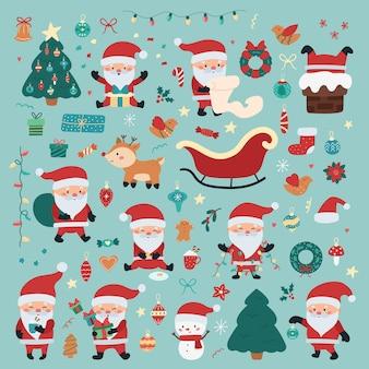 Zestaw świąteczny i noworoczny ze świętym mikołajem w różnych sytuacjach, prezentami, dekoracjami bożonarodzeniowymi, jeleniem i bałwanem.