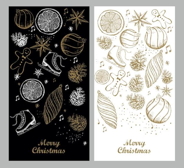 Zestaw świąteczny i nowy rok ręcznie rysowane ilustracja