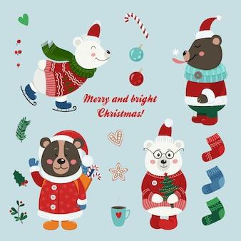 Zestaw świąteczny na białym tle słodkie misie