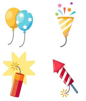 Zestaw świąteczny petarda, balon, ilustracja popper party na białym tle