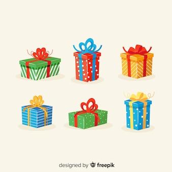 Zestaw świąteczny prezent w płaskiej konstrukcji