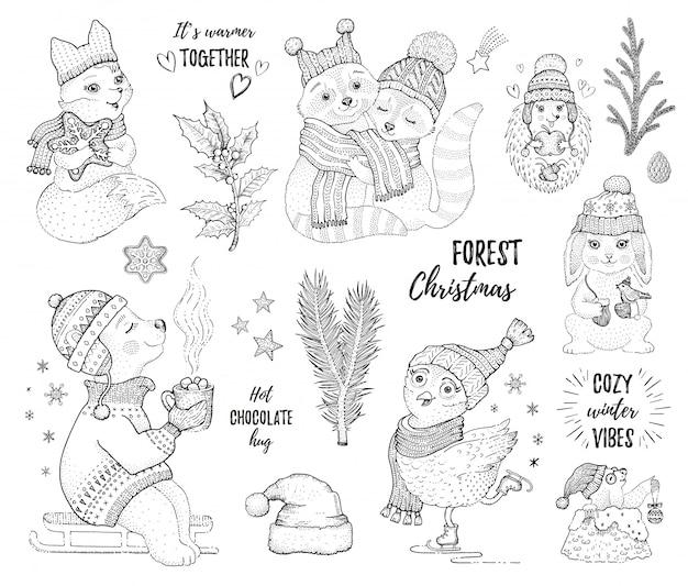 Zestaw świąteczny szkic zwierząt leśnych.