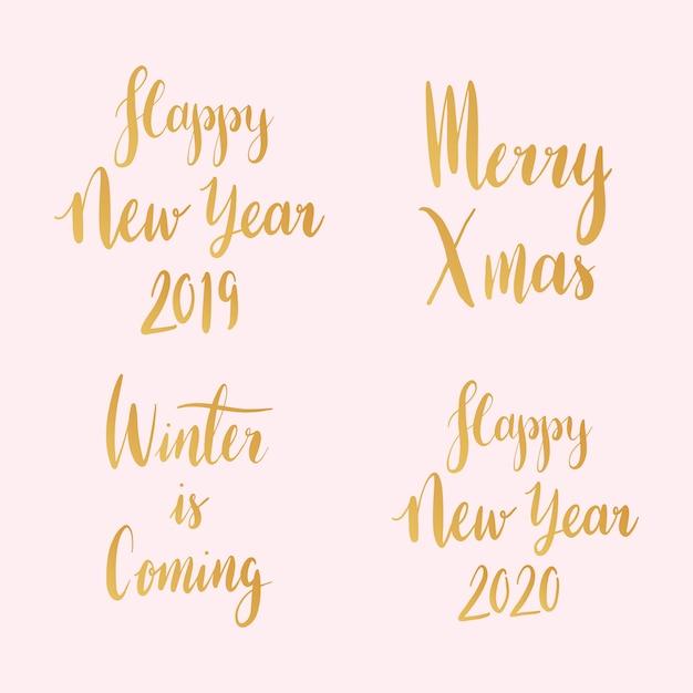 Zestaw świąteczny typografii wektorów