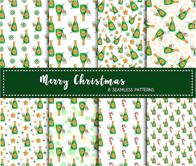 Zestaw świąteczny wzór - napój szampana lub napój, butelka wina, niekończące się tekstury
