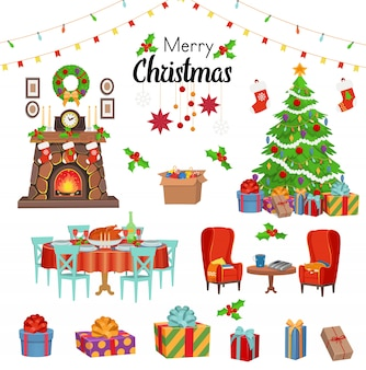 Zestaw świąteczny z kominkiem, krzesłami, choinką, świątecznym stołem z jedzeniem, prezentami, girlandami. ilustracja kreskówka wektor