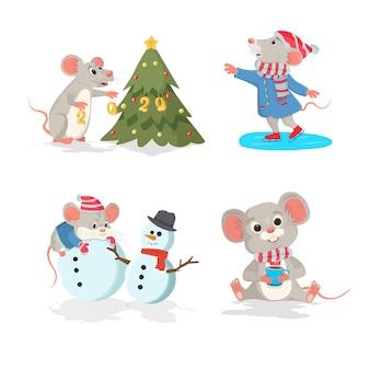 Zestaw świąteczny za pomocą myszy. mysz na łyżwach, mysz z choinką, mysz z filiżanką kawy.