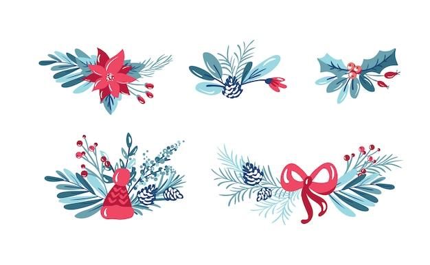 Zestaw świątecznych bukiety kwiatowe z jagodami i gałęzie jodły i kwiaty