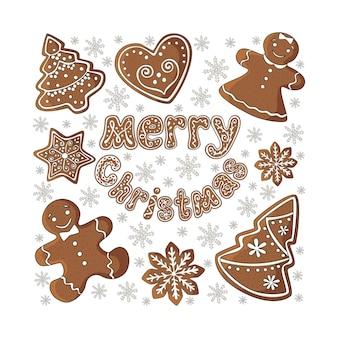 Zestaw świątecznych ciasteczek i napis wesołych świąt. ilustracja wektorowa. eps 10
