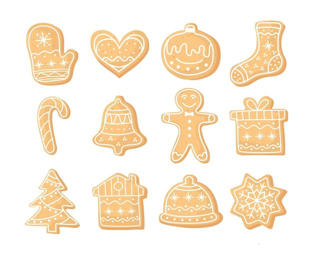 Zestaw świątecznych ciasteczek imbirowych. domowe ciasteczka na nowy rok. sezonowe cliparty