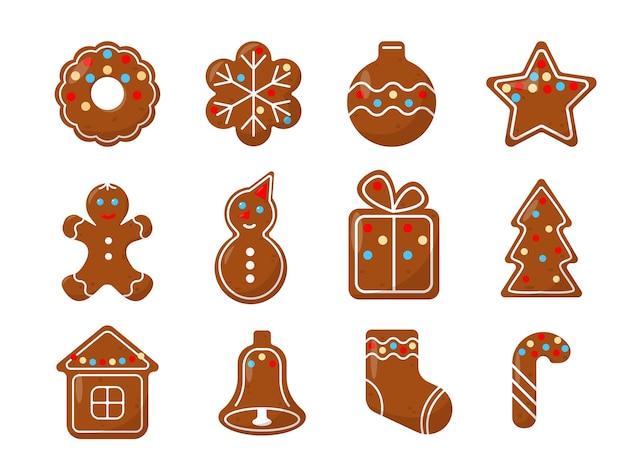 Zestaw świątecznych ciasteczek imbirowych. świąteczne wypieki domowej roboty.