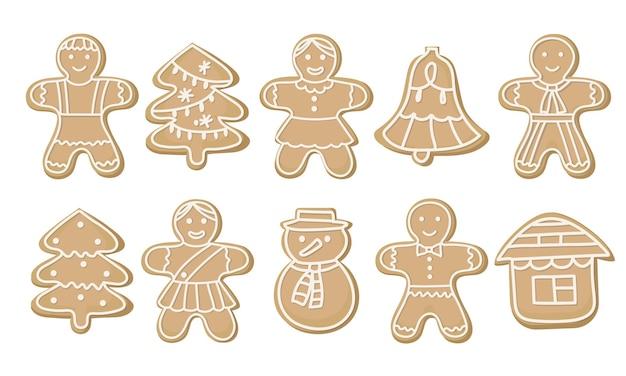 Zestaw świątecznych ciasteczek świątecznych. ludziki z piernika, choinki i bałwan.