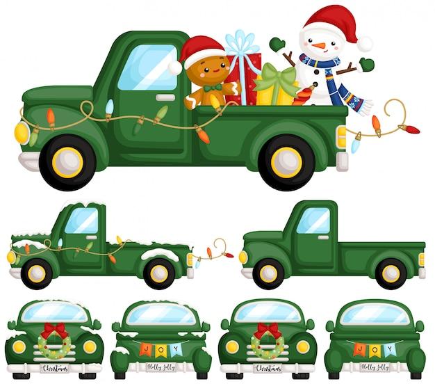 Zestaw świątecznych ciężarówek zielony