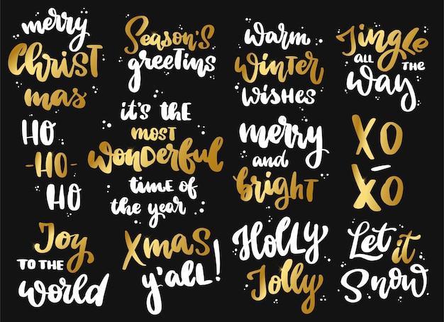 Zestaw świątecznych cytatów na czarnym tle