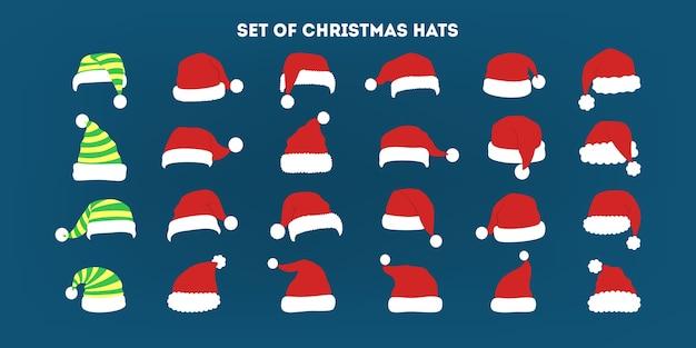Zestaw świątecznych czapek. kolekcja dekoracji świętego mikołaja do fotobudki. koncepcja strony wakacyjnej. ilustracja