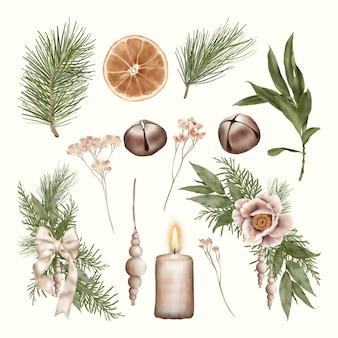 Zestaw świątecznych dekoracji kwiatowych