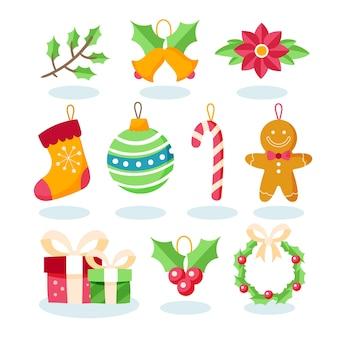 Zestaw świątecznych dekoracji płaska konstrukcja