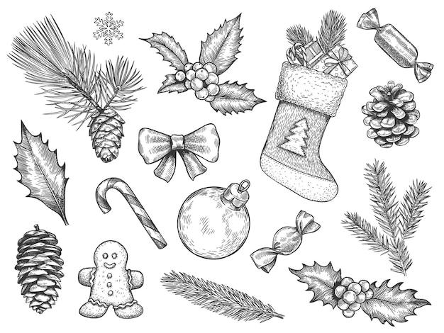 Zestaw świątecznych dekoracji szkicu
