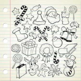 Zestaw świątecznych doodle