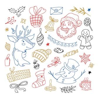 Zestaw świątecznych doodli postaci świętego mikołaja, renifera i bałwana, przedmioty świąteczne, dekoracje