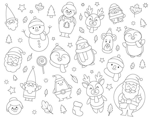 Zestaw świątecznych doodli