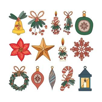 Zestaw świątecznych elementów płaskich ilustracji projektu