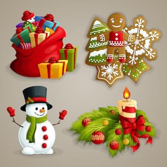 Zestaw świątecznych elementów
