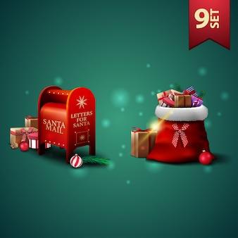 Zestaw świątecznych ikon 3d, worek świętego mikołaja z prezentami i skrzynka na listy świętego mikołaja z prezentami
