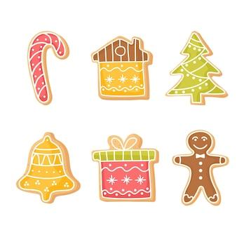 Zestaw świątecznych imbirowych ciasteczek domowe ciasteczka na nowy rok zimowe cliparty