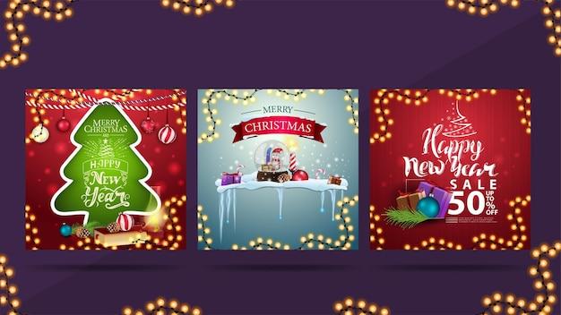 Zestaw świątecznych kart okolicznościowych i baner rabatowy na obchody nowego roku.