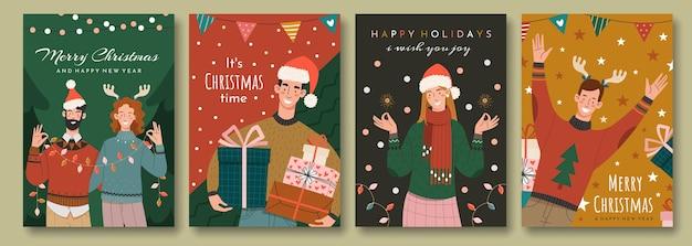 Zestaw świątecznych kart okolicznościowych w stylu retro. szczęśliwi ludzie gratulują wakacji.
