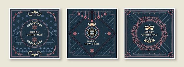Zestaw świątecznych kart okolicznościowych z rocznika ozdobne ozdoby.