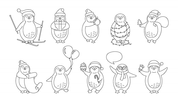 Zestaw świątecznych kreskówek pingwina. kolekcja ładny pingwiny płaskie ręcznie rysowane. nowy rok uśmiech szczęśliwy charakter liniowy, czapka mikołaja, balony, girlanda, prezent narciarski, bańka mowy.