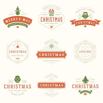 Zestaw świątecznych logo, godła, odznaka. dekoracja vintage ozdoby.